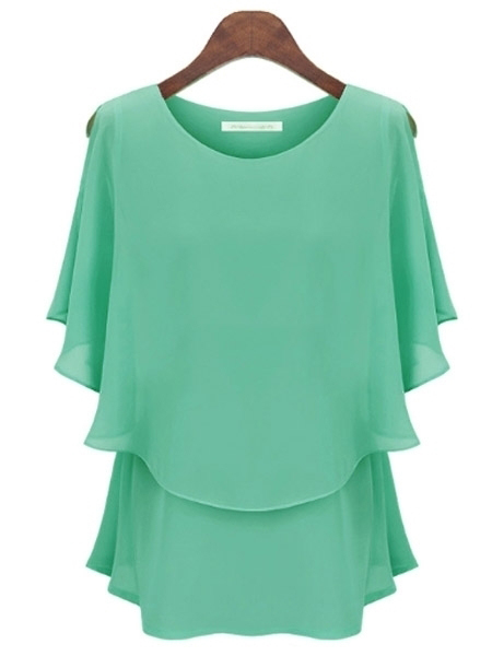 Hot Solid Color Chiffon Falbala Blouse
