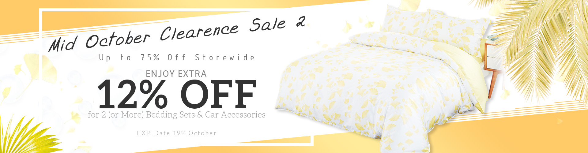 75% Off+Enjoy Extra 12% Off for 2 or More Bedding Sets&Car Accessories