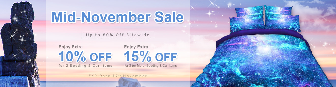 Up to 80% Off Sitewide+Enjoy Extra 10% Off for 2 Bedding & Car Items Enjoy Extra 15% Off for 3 (or More) Bedding & Car Items
