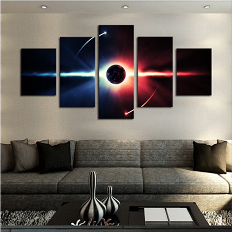 Running Earth 5-Panel Canvas Hung Non-framed Wall Prints