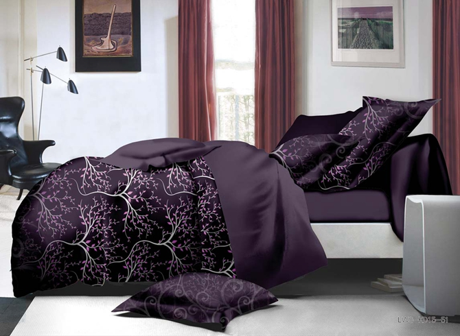 Sophisticated_Branch_Print_Purple_Polyester_4Piece_Bedding_SetsDuvet_Covers