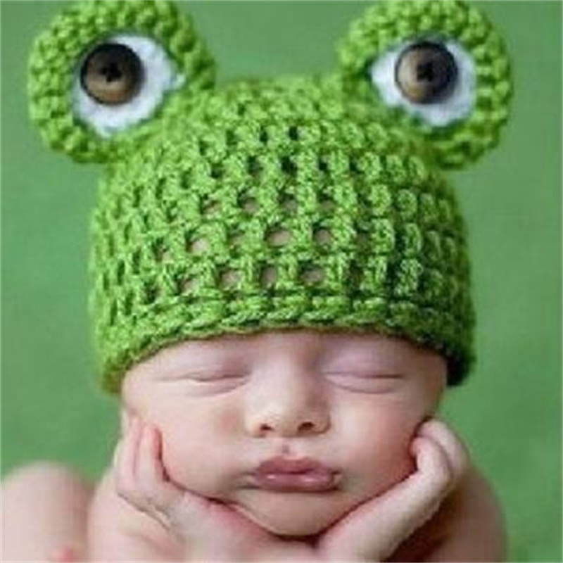Frog With Big Eyes Shaped Yarn Green Kids Hat