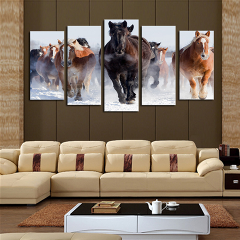 Brown and Yellow Running Horses 5-Panel Canvas Hung Non-framed Wall Prints