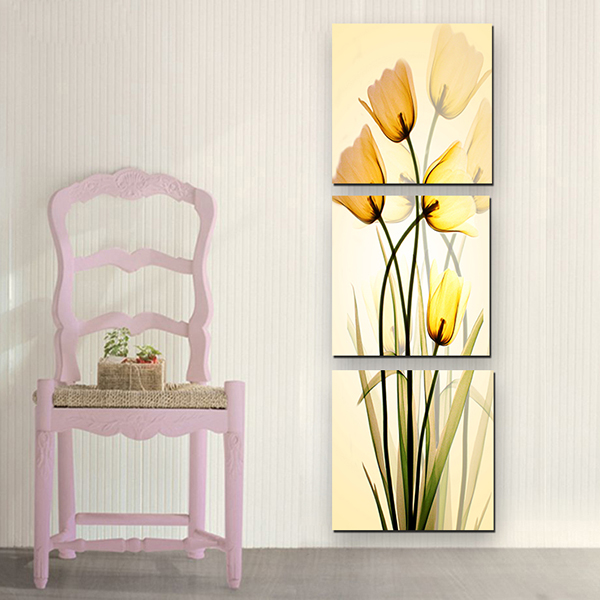 16×16in×3 Panels Yellow Tulips Hanging Canvas Waterproof and Eco-friendly Framed Prints