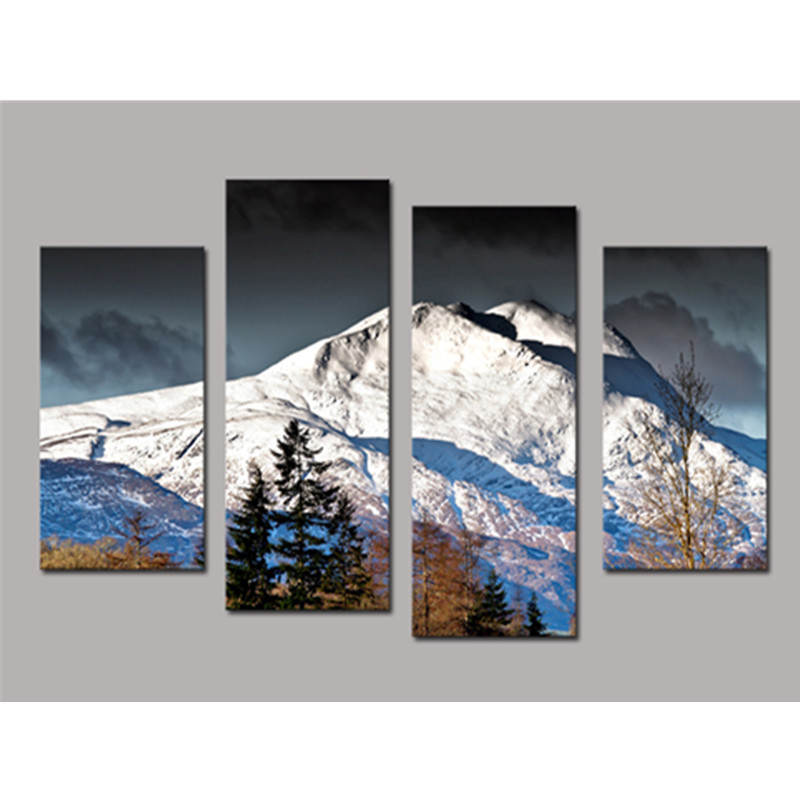 White Snow-Mountain 4-Panel Canvas Hung Non-framed Wall Prints