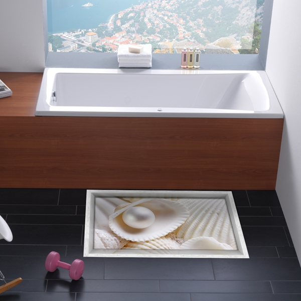White shell and Pearl Slipping-Preventing Water-Proof Bathroom 3D Floor Sticker