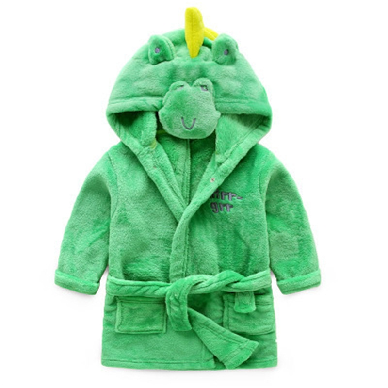 Little Dinosaur Shaped Polyester Green 1-Piece Kids Robe