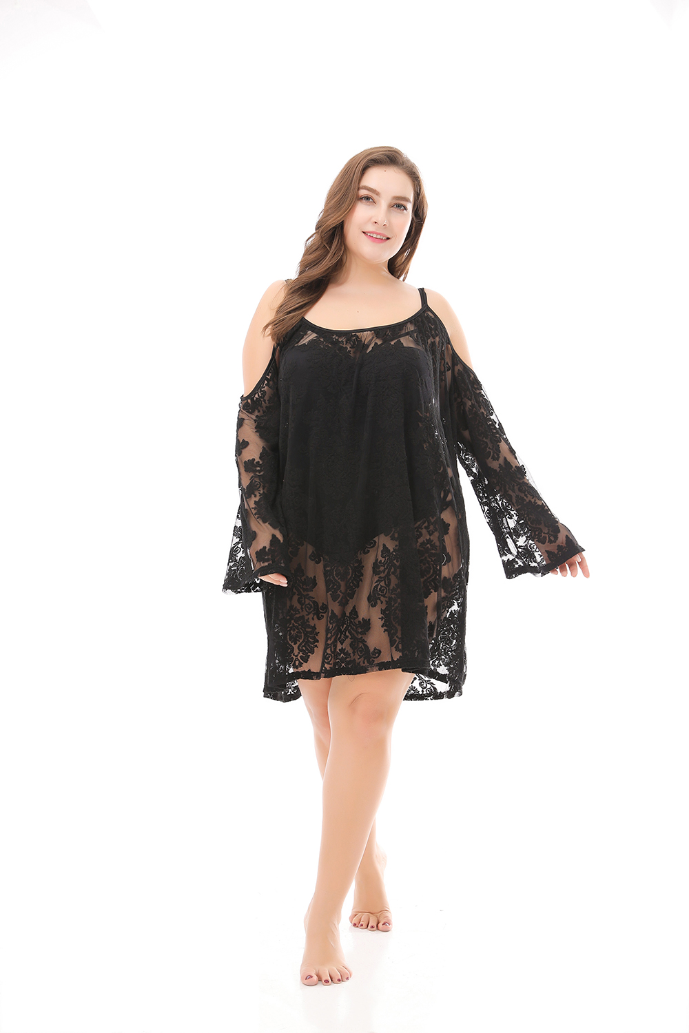 Beach Sexy Lace Smock Simple Style Plus Size Dress