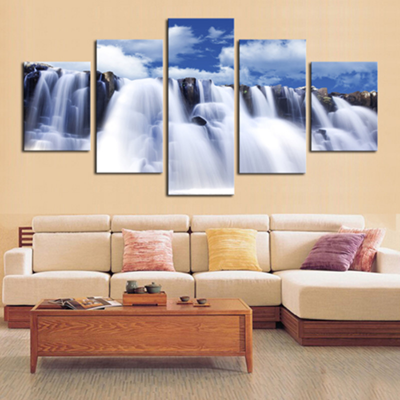 Waterfall and Blue Sky 5-Panel Canvas Hung Non-framed Wall Prints