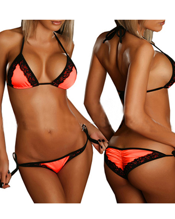 Lace Women Patchwork Two-Piece Bikini Set