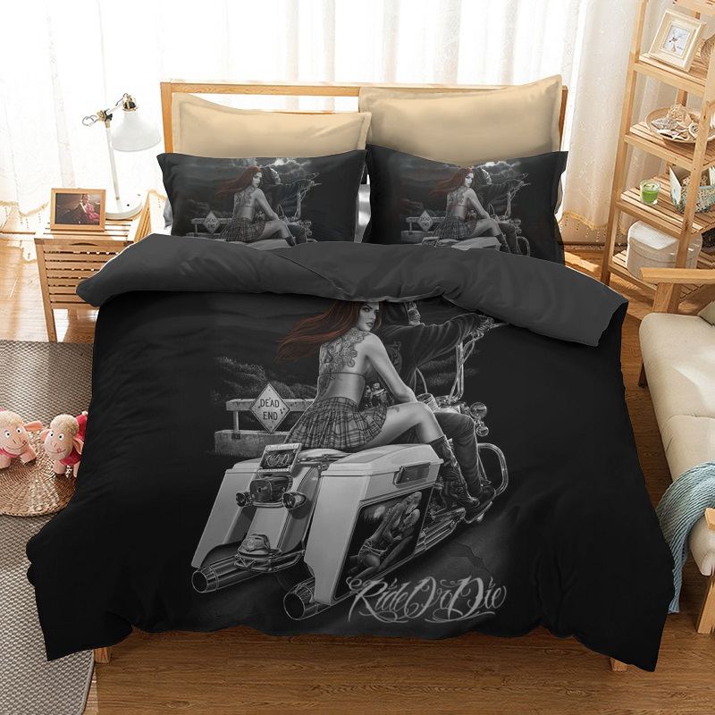 Skull_and_Beauty_Riding_Motorcycle_Biker_Printed_3Piece_3D_Bedding_Sets_Duvet_Covers
