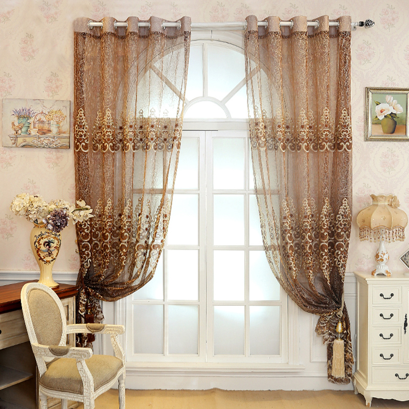 Decoration Polyester Artificial Embroidery Brown Solid Luxury Style Sheer Curtain and Drapes