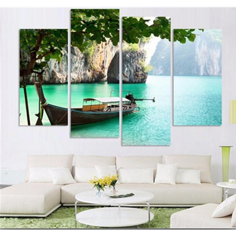 Green Lake and Tree/Boat 4-Panel Canvas Hanging Non-framed Wall Prints