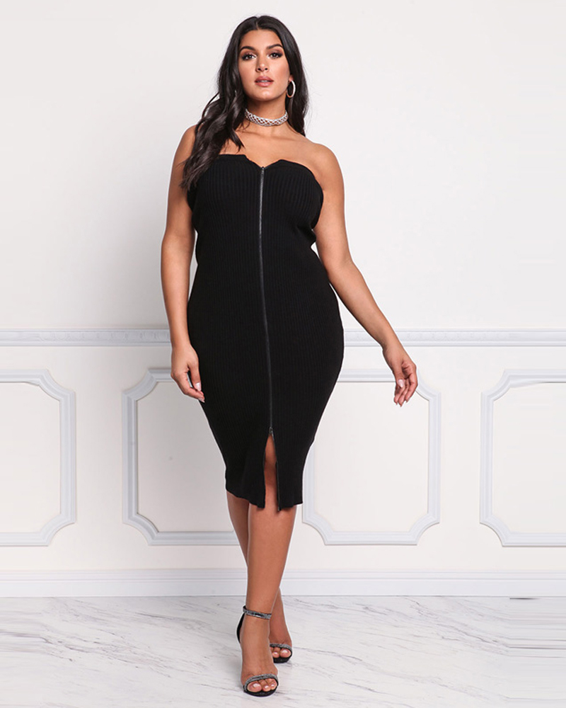 Strapless Slim Model Sexy Polyester Plus Size Dress