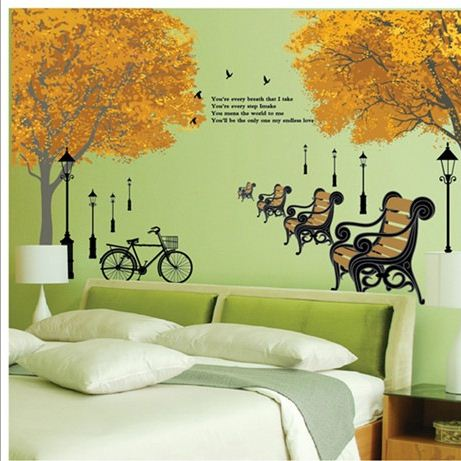 New Arrival Trees and Bench in Garden Wall Stickers