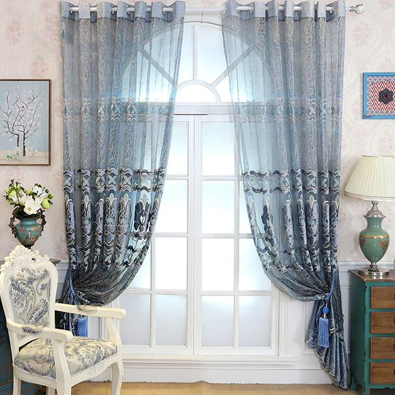 Decoration Artificial Embroidery Silk Luxury Style Damask Printing Sheer Curtain and Drapes