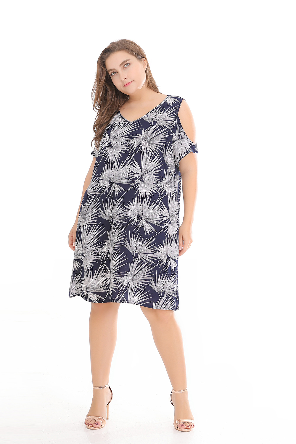 Casual Style Off-The-Shoulder Printing Polyester Plus Size Dress