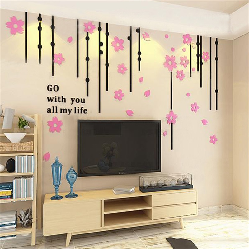 5 Color Creative Flower Curtain Pattern Acrylic Material Living Room 3D Wall Sticker