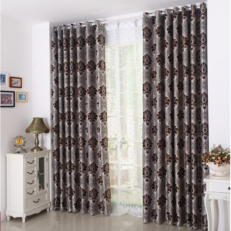 Red Floral Embroidery Soft Curtain Grommet Drapes