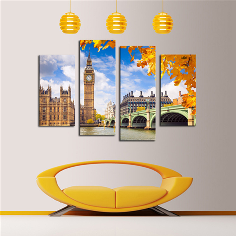 Yellow Architectures and Bridge 4-Panel Canvas Hung Non-framed Wall Prints
