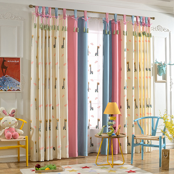 Embroidery Giraffe Pattern Polyester Cute Style Kids Curtain