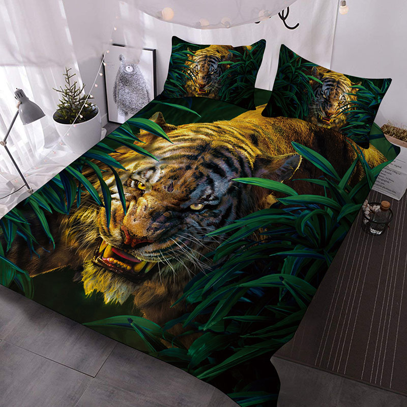 The_Tiger_Roared_In_The_Bush_Printed_3Piece_Comforter_Sets