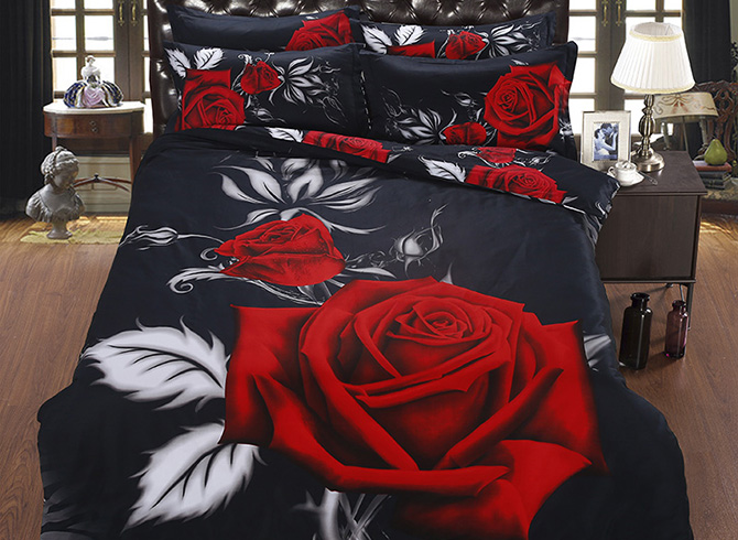3D_Blooming_Red_Rose_Printed_Cotton_5Piece_Black_Comforter_Sets