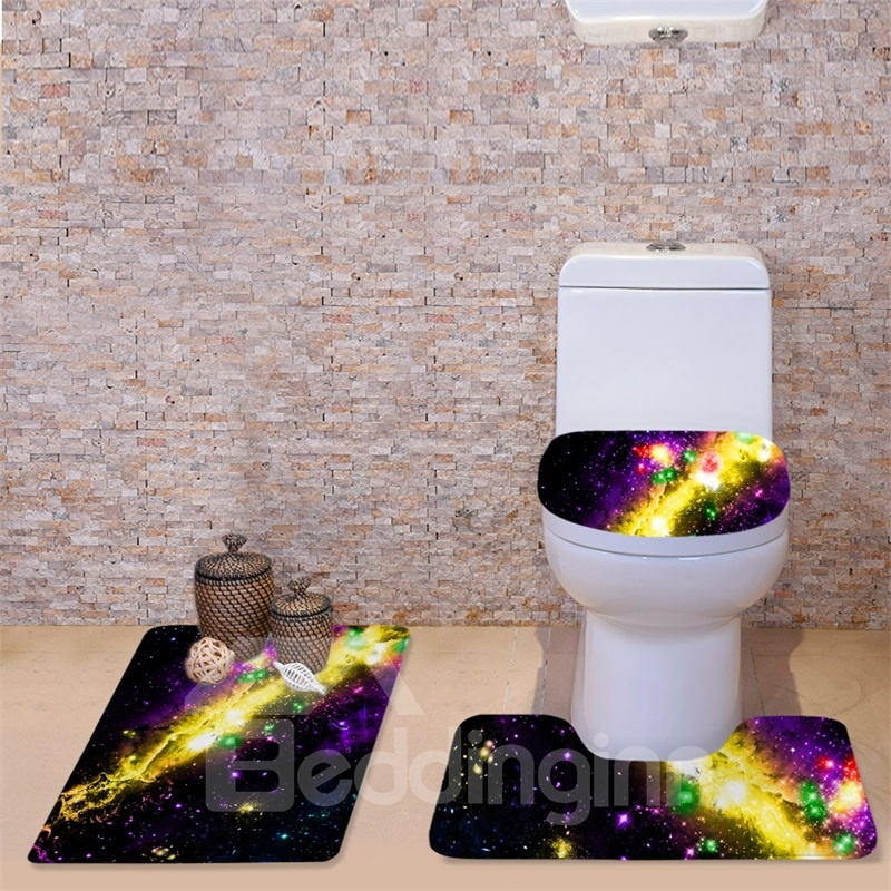 Admirable 3D Yellow Galaxy Printed Flannel 3 Piece Black Toilet Seat Theyellowbook Wood Chair Design Ideas Theyellowbookinfo